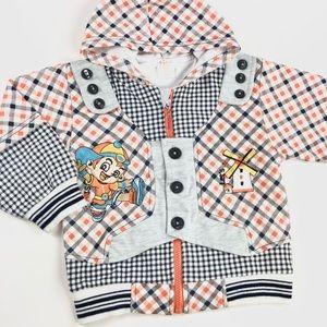 Orange & black checkered baby sweater